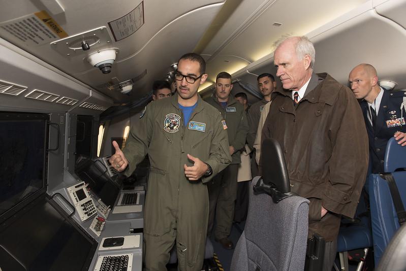 Secretary of the Navy Richard V. Spencer tours a P-8 Poseidon.
