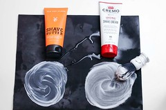 Two examples of non lathering shaving cream