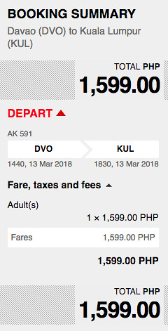 Davao to Kuala Lumpur AirAsia Promo March 13, 2018