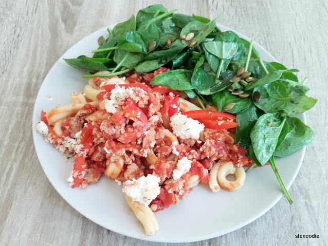 Italian Sausage Pasta Bake on plate