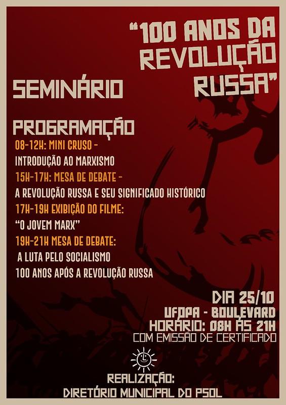 PSOL realizará seminário sobre os 100 anos da Revolução Russa, 100 anos de Revolução Russa
