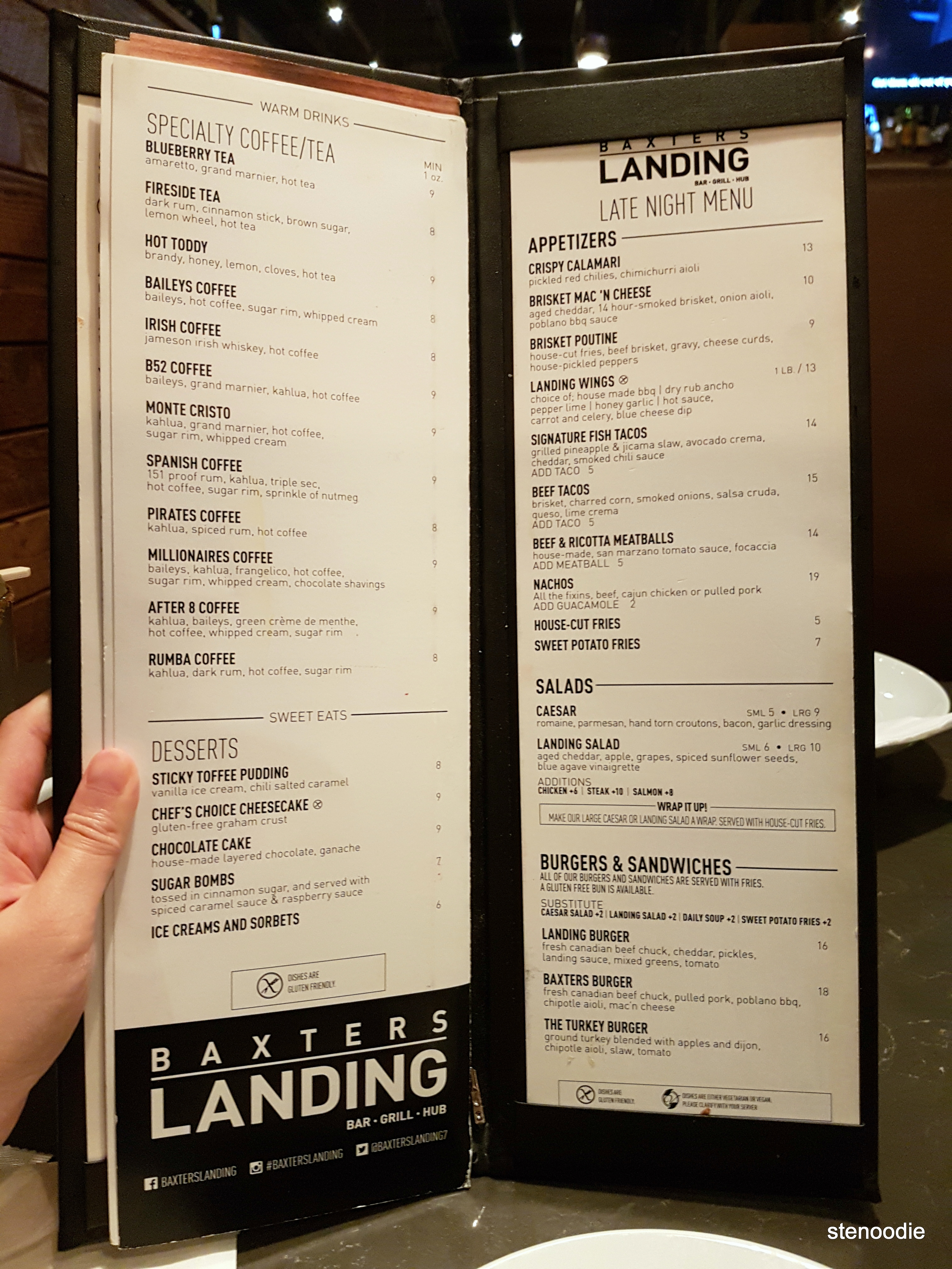 Baxters Landing dessert and late night menu