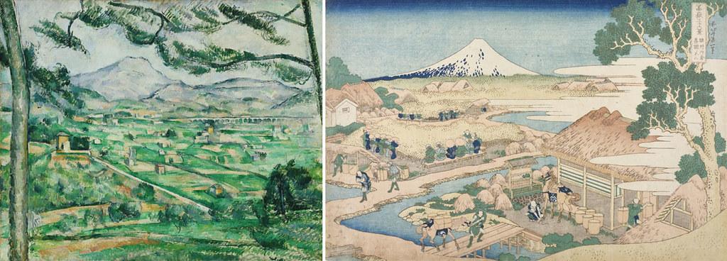 左)ポール・セザンヌ《サント=ヴィクトワール山》(1886-87年、フィリップス・コレクション) 右)葛飾北斎《富嶽三十六景 駿州片倉茶園ノ不二》(1830-33年頃、オーストリア応用美術館)