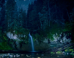 Iron Creeks Falls at night