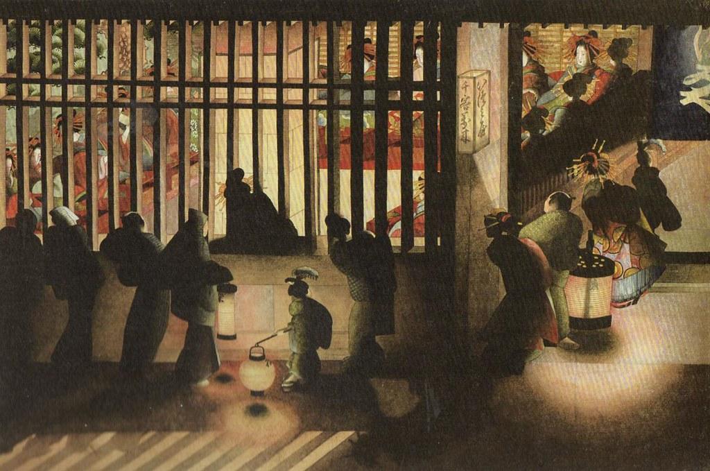 葛飾応為《吉原格子先之図》(1840-54年頃、太田記念美術館)