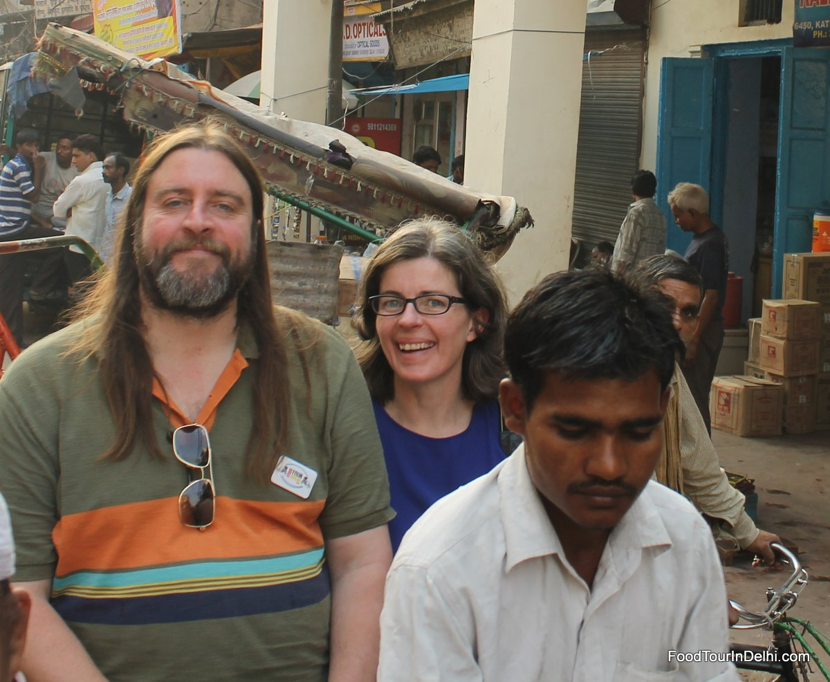 Enjoying a rickshaw ride in Old Delhi