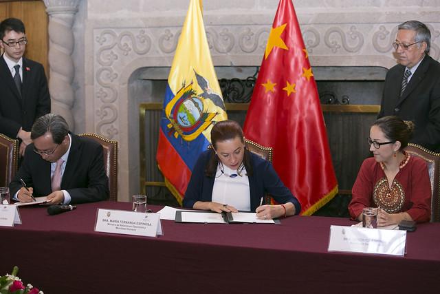 Firma de convenio de cooperación China Ecuador