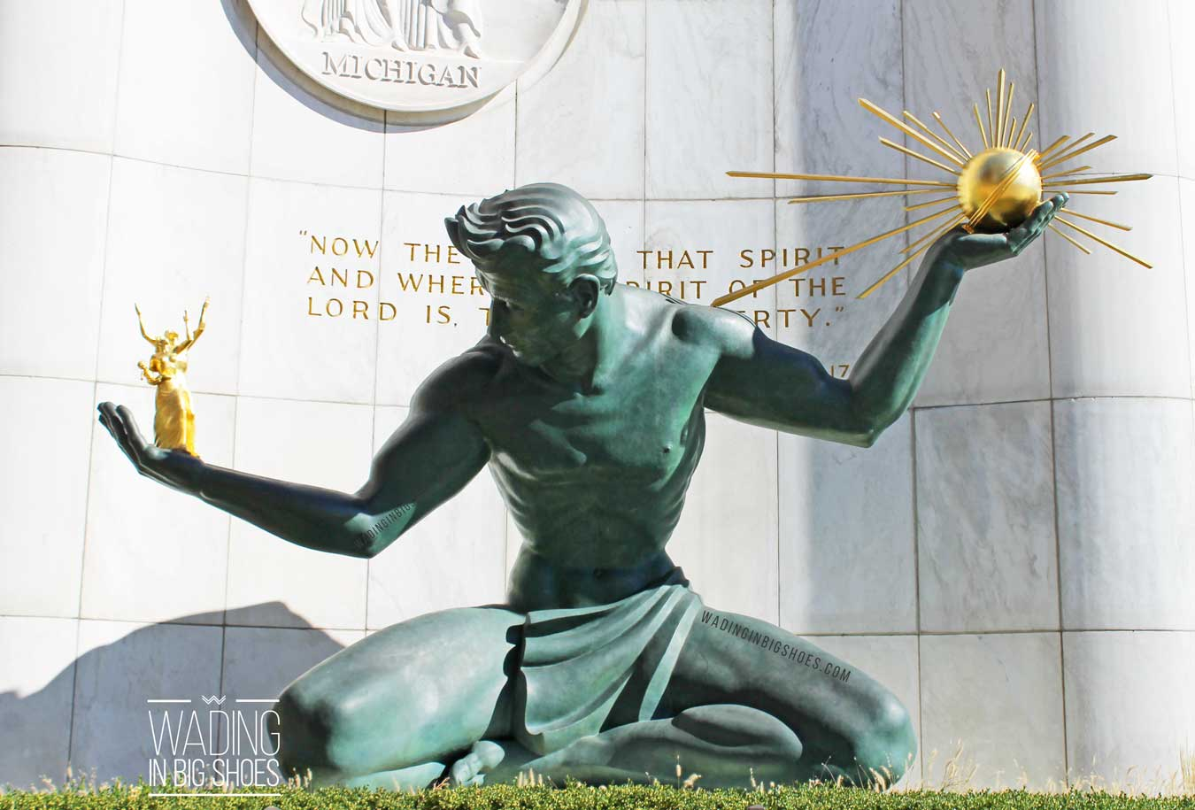 Things To Do In Detroit: Visit The Spirit Of Detroit Statue // (via Wading in Big Shoes) // Don't miss The Spirit of Detroit, located on Woodward Avenue in downtown Detroit. Commissioned in 1955, this bronze and marble statue is in front of the Coleman A. Young Center and makes a great backdrop for Detroit photos.