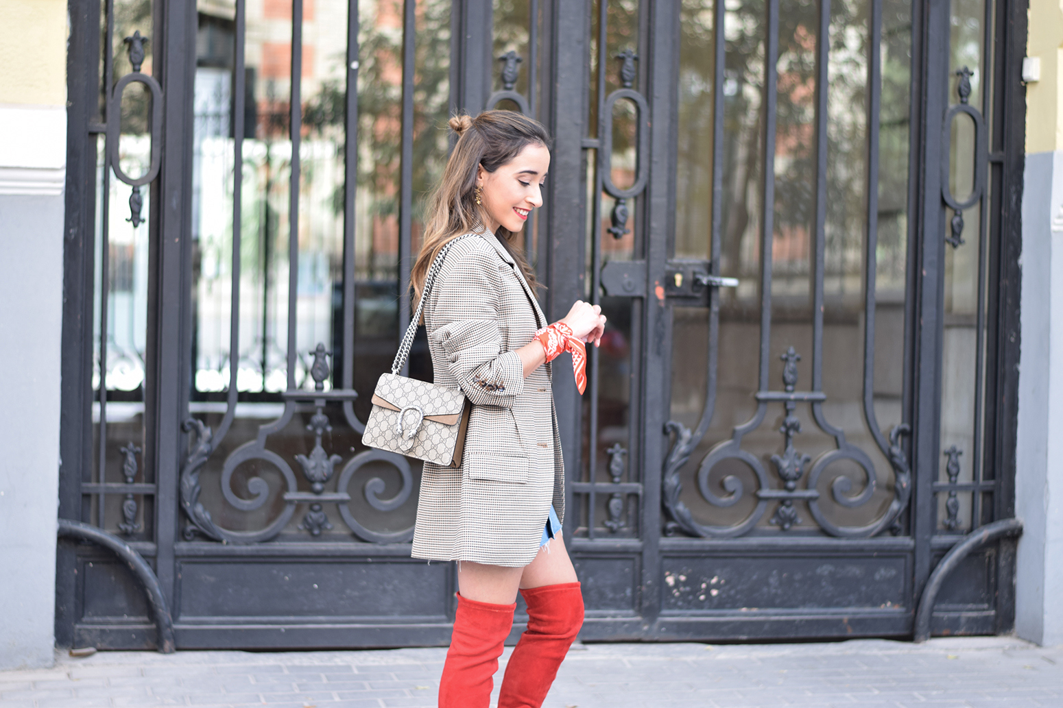 Houndstooth blazer denim skirt gucci bag red over the knee boots autumn outfit style fashion16