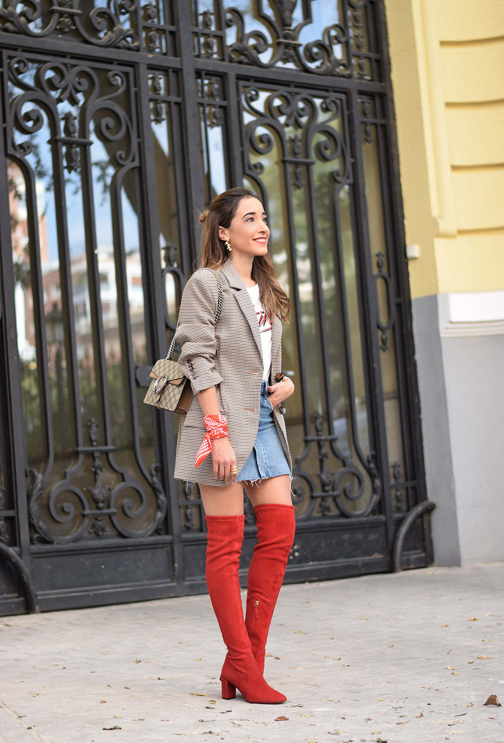 Houndstooth blazer denim skirt gucci bag red over the knee boots autumn outfit style fashion10
