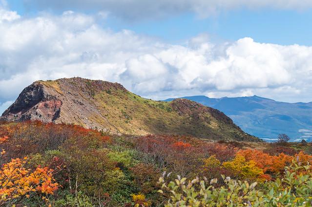 櫛ヶ峰の右奥に安達太良山@お花畑