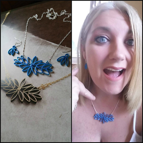 Quilled Deconstructed Flower Necklace and Earrings