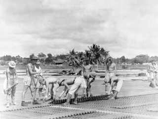 1946 RAF 5353 Airfield Construction Wing and Japanese POWs improving the runway at RAF Changi, Singapore