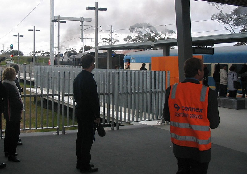 Waiting for the Premier, Craigieburn station opening, September 2007