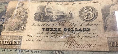 R.J. Manning Huntsville AL $3 banknote
