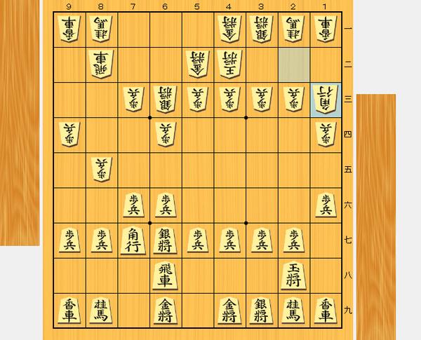 20手目 △1三角