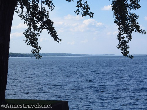 Views north along Canandaigua Lake from a tiny park in Dresden, New York