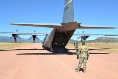 Colorado Army National Guard conduct C-130 airlift and HIMARS Hot-Pannel training.
