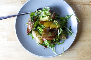 sausage and potato roast with arugula, mine