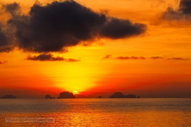 Sunset from our yacht at Phang Nga Bay, Phuket, Thailand