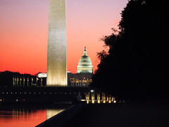 Sunrise on the National Mall.