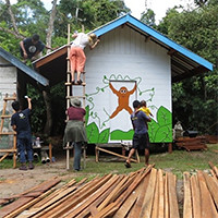 Orangutan Foundation International construction volunteer Indonesia Borneo