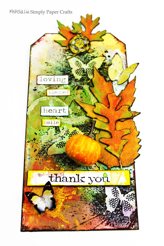Meihsia Liu Simply Paper Crafts Mixed Media Tag Thank You IndigoBlu Simon Says Stamp Tim Holtz 1