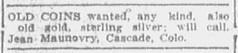 Maunovry ad Colorado Springs Gazette June 1, 1913, page 9