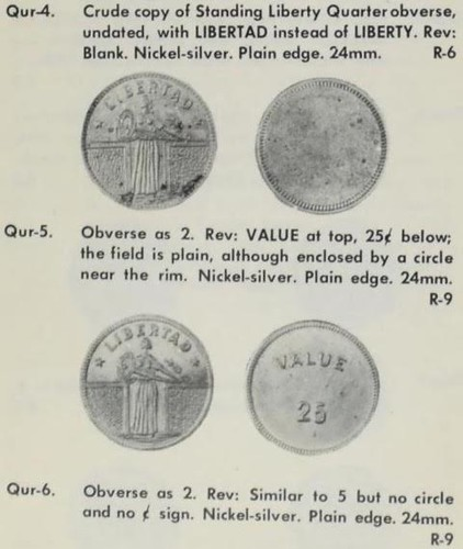 Crude copy of Standing Liberty Obverse game counters