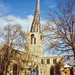 The crooked spire of St. Mary & All Saints Church, Chesterfield, Derbyshire, 21st March 1991