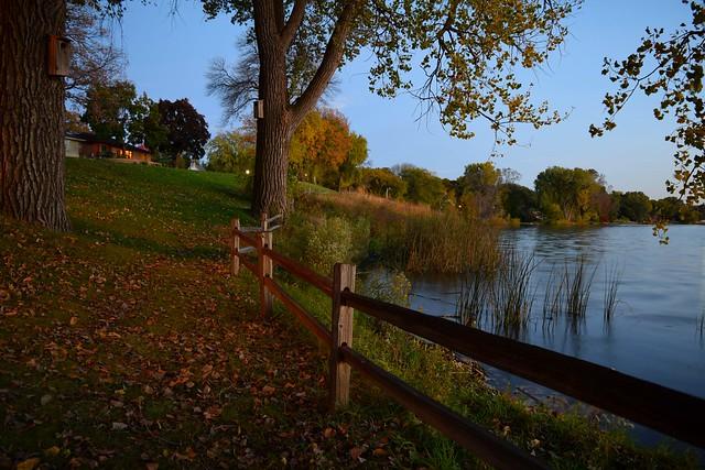 Crystal Lake in Robbinsdale at dusk