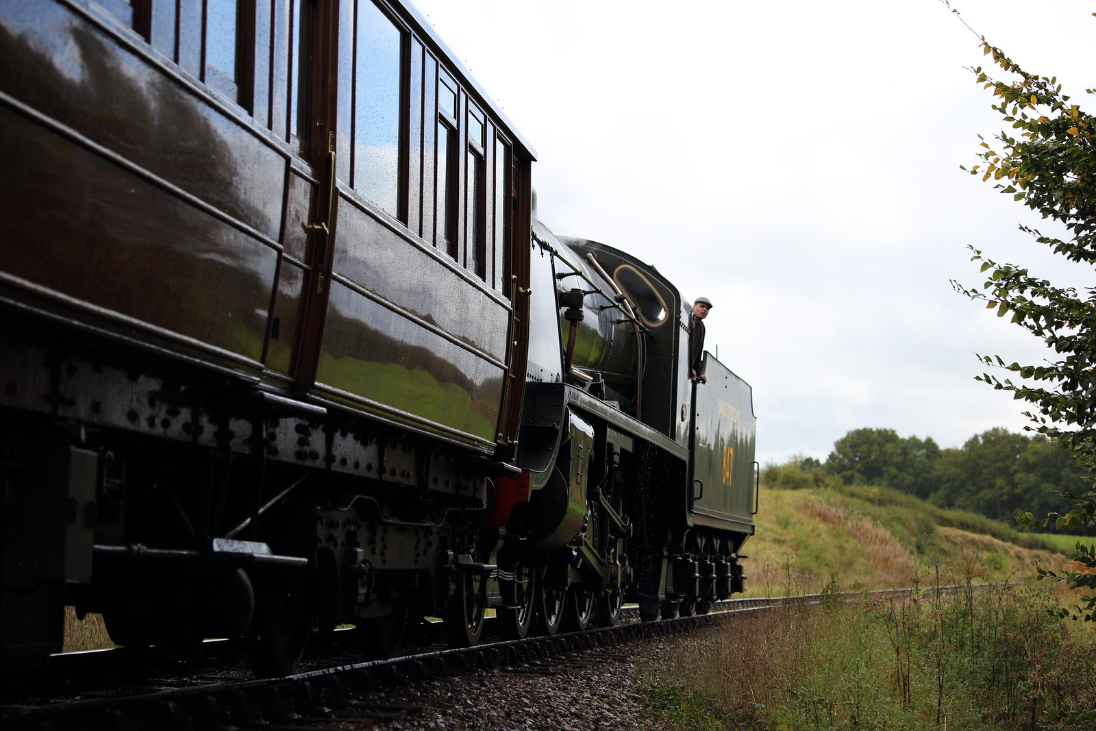 S15 puffing by on Bluebell Railway
