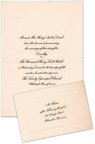 Dorothy and Heinz Wedding Invitation 1927