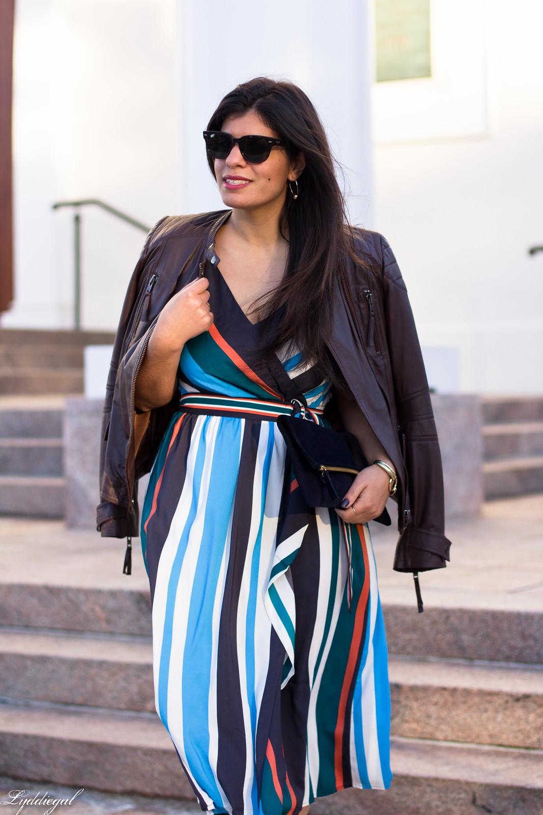striped midi dress, leather jacket, mules, foldover clutch-4