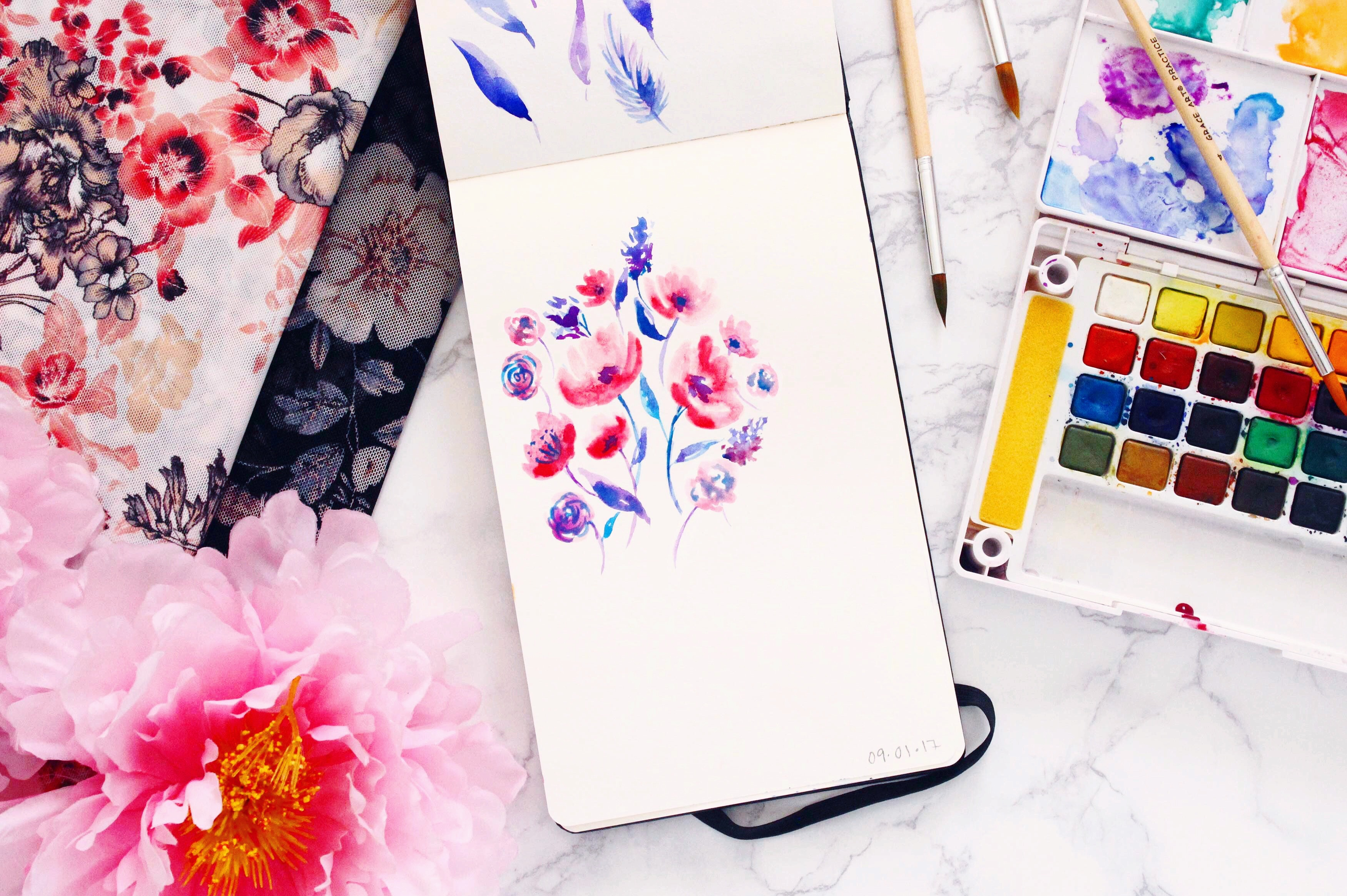Tailor Made Shop Watercolor Painting Florals