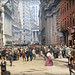 Broad Street looking to Wall Street and Federal Hall at lunch hour. Men dressed in  suits and straw hats, women in colorful skirts and flowered hats. The Barrons cafe at right has really good food, including squab and turtle soup. New York. July 1907 by wavz13