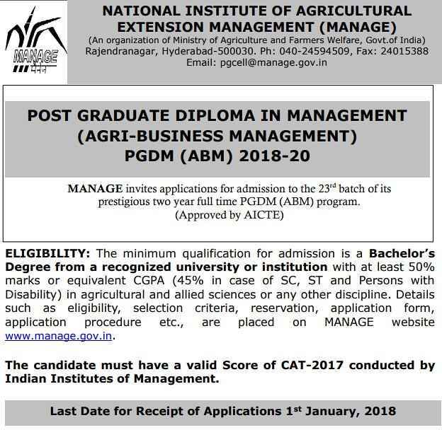 MANAGE PGDM Notification