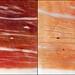 Un buen jamón bien cortado (Vista normal y al trasluz)