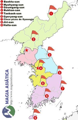 Mapa Montañas sagradas Corea