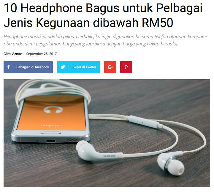 ProductNation - 10 Headphone Bagus untuk Pelbagai Jenis Kegunaan dibawah RM50