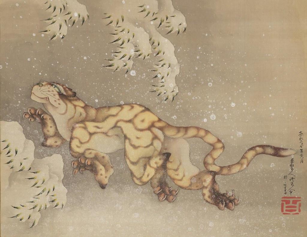 葛飾北斎《雪中虎図》(1849年、ニューヨーク・個人蔵)