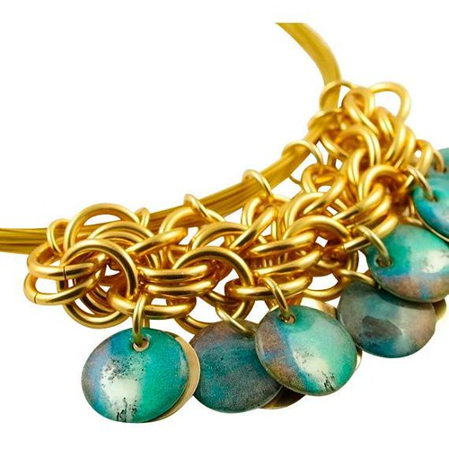 Turquoise and Gold Circle Necklace by Diana Ferguson Jewelry