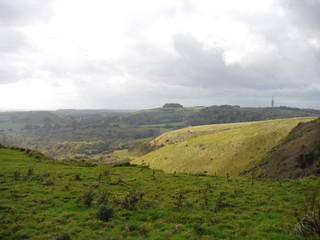 Along the North Downs, with Brockman's Bushes in the distance