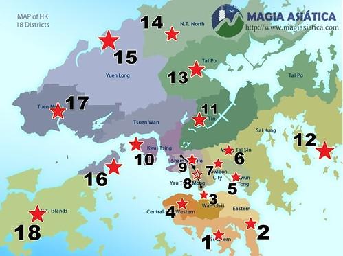 Mapa Hong Kong con lugares destacados