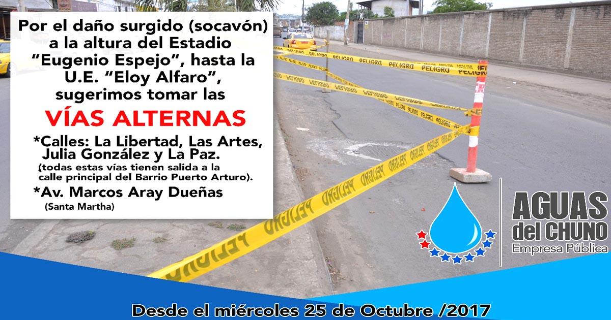 Socavón en avenida Eloy Alfaro será arreglado por empresa Aguas del Chuno desde este miércoles
