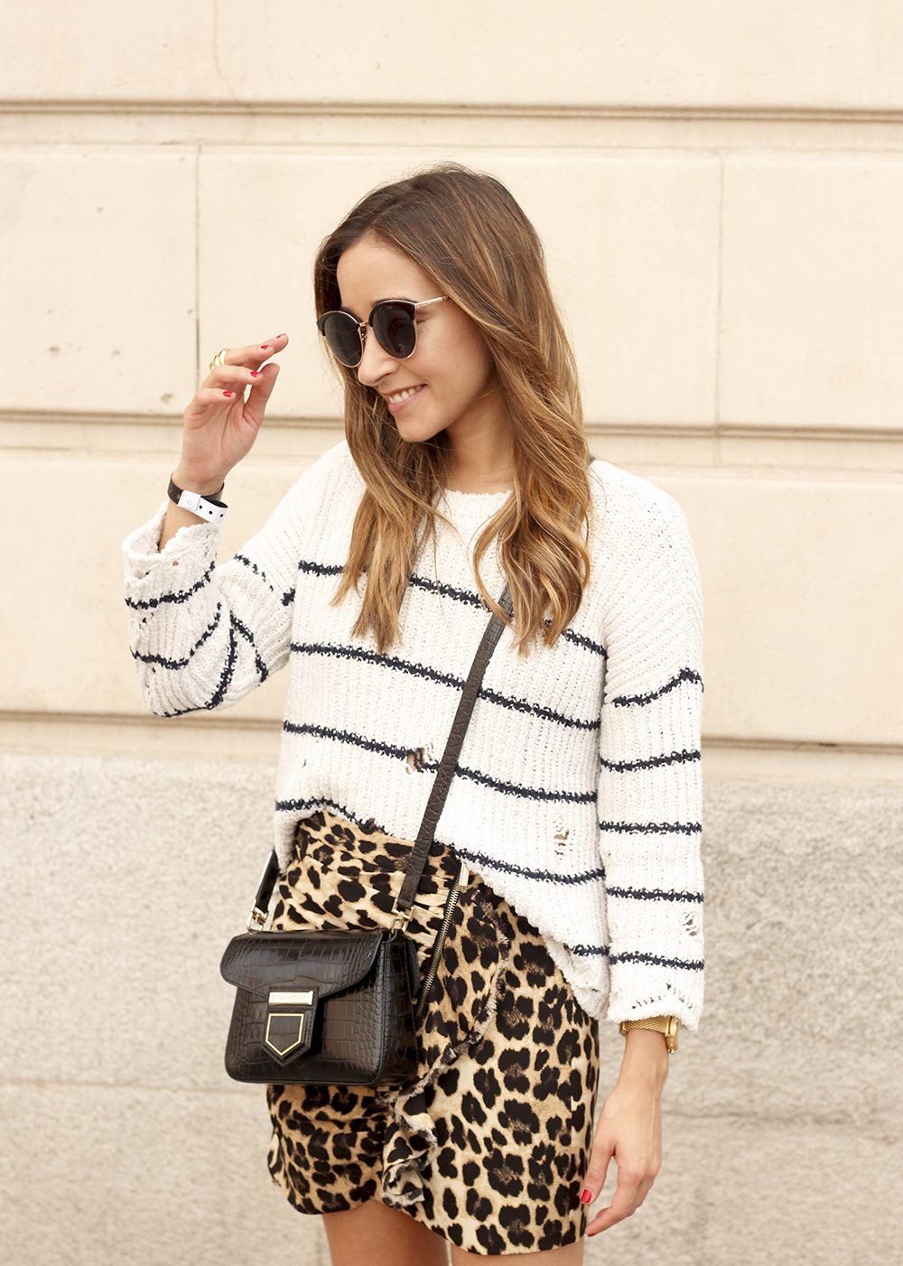 leopard printed skirt striped sweater givenchy bag outfit fashion style trend12