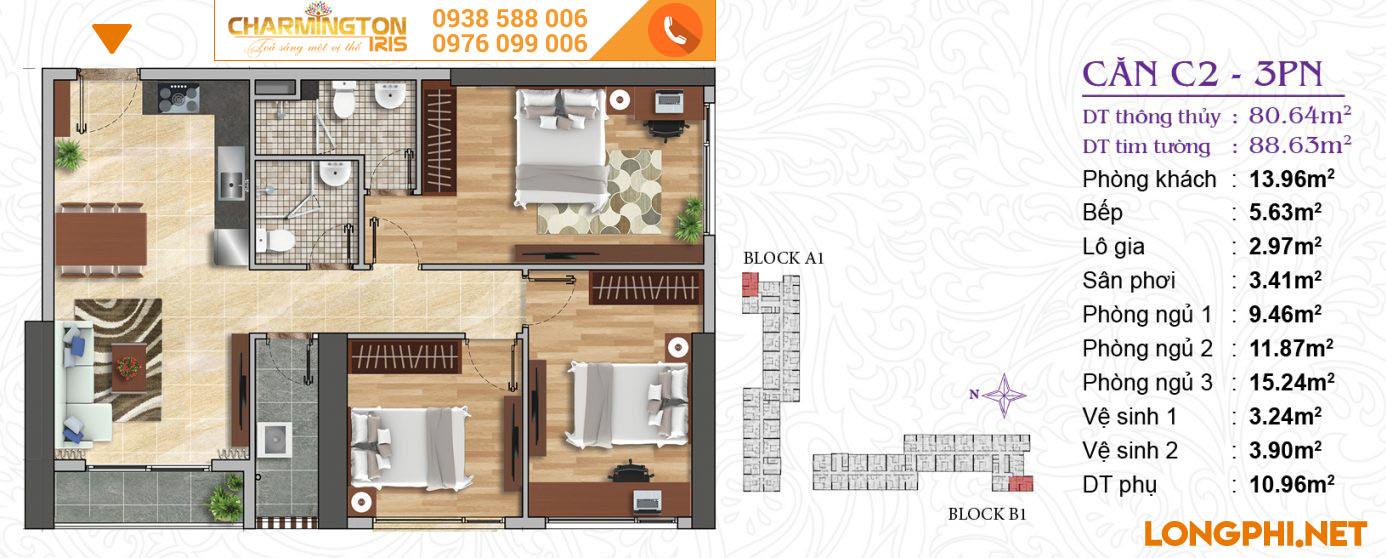 Căn hộ 3 phòng ngủ C2 dự án Charmington Iris Q4.