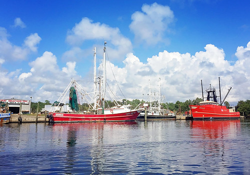 Shrimp boats docked in Bayou La Batre Alabama