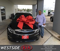 Happy Anniversary to Alvaro on your #Kia #Optima from Rick Hall at Westside Kia!