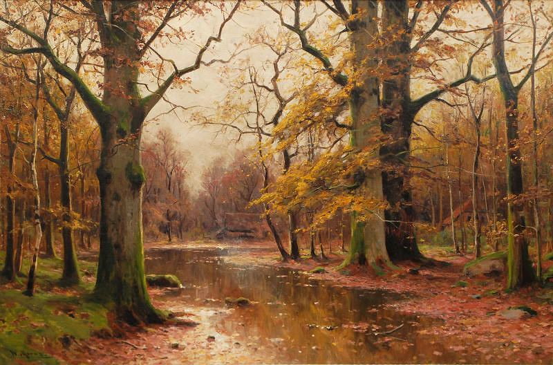 Autumnal Forest with Houses by Walter Moras (1856 - 1925)